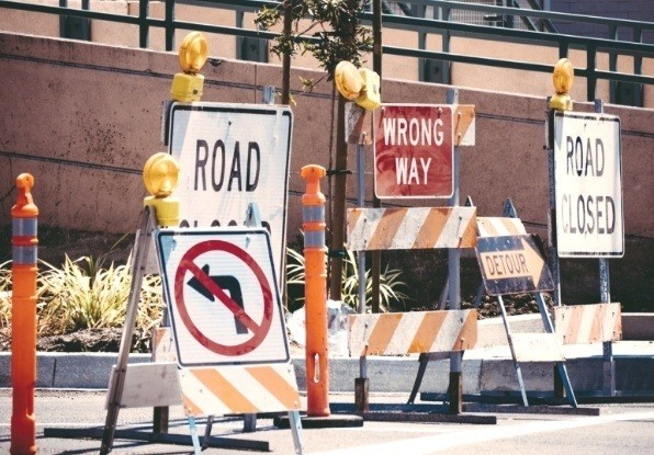 Image of a road closure - Navtech's measurement sensors can connect to autonomous vehicle sensors to provide warning of lane closures.