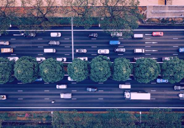 Image of vehicles in multiple lanes on a highway. ClearWay can count and classify vehicles in multiple lanes in a detection zone.