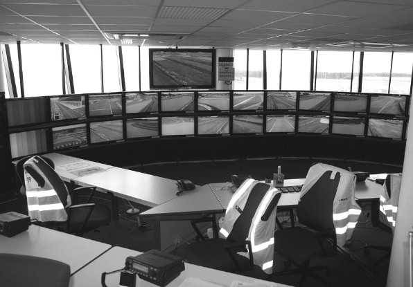 Image of operator control room where operators can track and monitor intruders.
