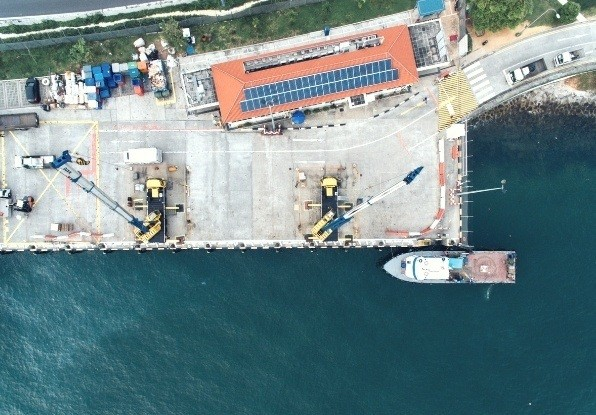 Image of a harbour where land and water detection would be required.
