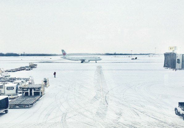 Image of snow on the tarmac at an airport. AdvanceGuard can operate in snowy conditions.