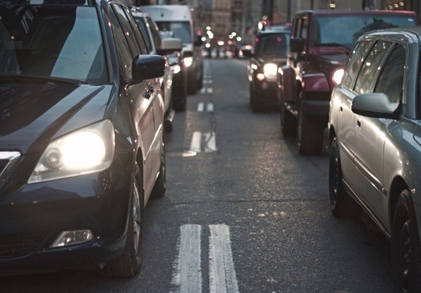 Image of cars in a traffic jam. ClearWay can activate warning signs when a queue has started to form to ensure other drivers slow down.