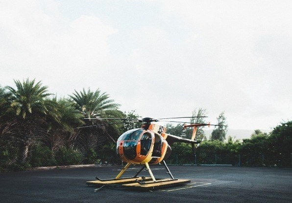 Image of helicopter. AdvanceGuard can be configured to suit the needs of compounds such as helicopter landing pads.