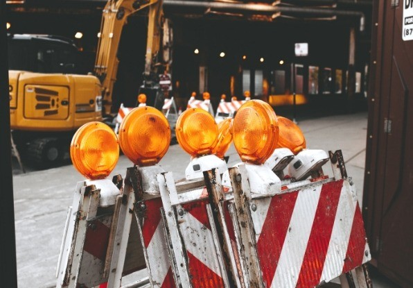 Image of roadwork barriers to stop vehicle incursions.