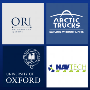 Image of logos for Navtech, ORI , Aertic Trucks and University of Oxford